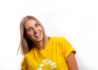 Smiling woman in work T.shirt